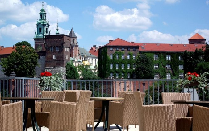 Uitzicht vanaf het terras van Hotel Poleski in Krakau