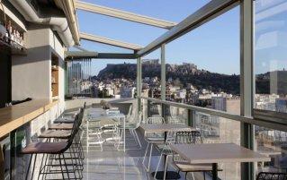 Dakterras van Hotel Evripides in Athene
