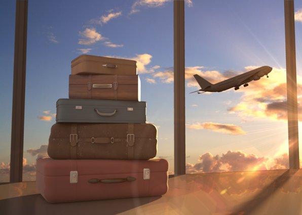 Vliegtuig en koffer