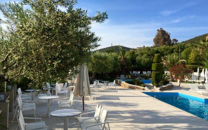 Zwembad met zonneterras van Hotel Glavas Inn op Chalkidiki