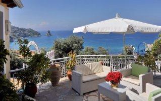 Terras van Appartementen Mazis op Corfu