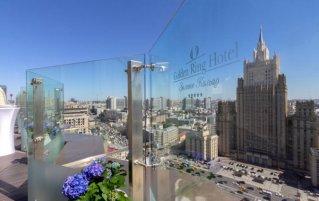 Uitzicht vanaf restaurant in Hotel Golden Ring in Moskou